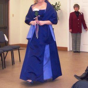 Dark and light blue strapless Bridesmaid Dress